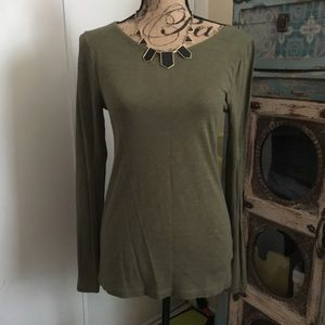 J. Crew Ling Sleeve Painter Tee M Olive Green